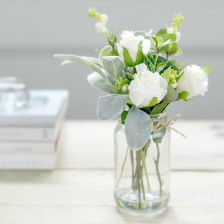 ARTIFICIAL GARDEN WHITE ROSEBUD & SNOWBERRY FLOWER JAR