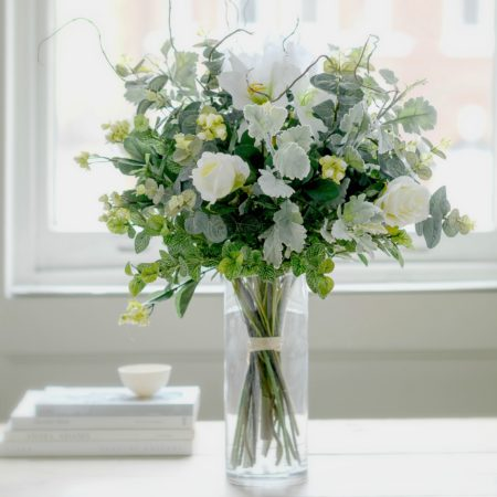 ARTIFICIAL LUXURY WHITE ROSE & LILY BOUQUET