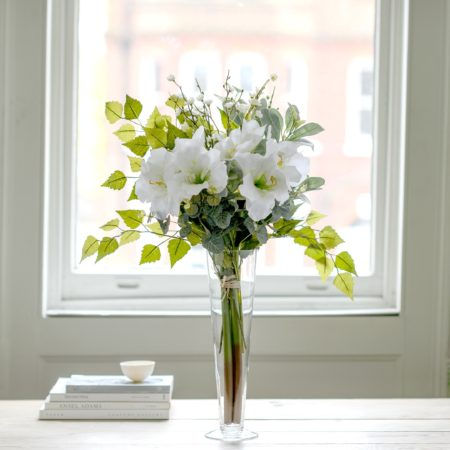 ARTIFICIAL WHITE AMARYLLIS & SPRING BLOSSOM FLOWER BOUQUET