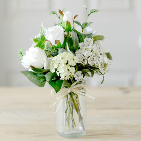 ARTIFICIAL WHITE ROSE GARDEN FLOWER POSY WITH JAR