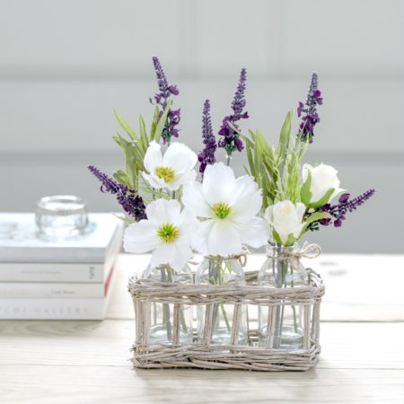 ARTIFICIAL WILD ROSE & LAVENDER COUNTRY WICKER BASKET ARRANGEMENT