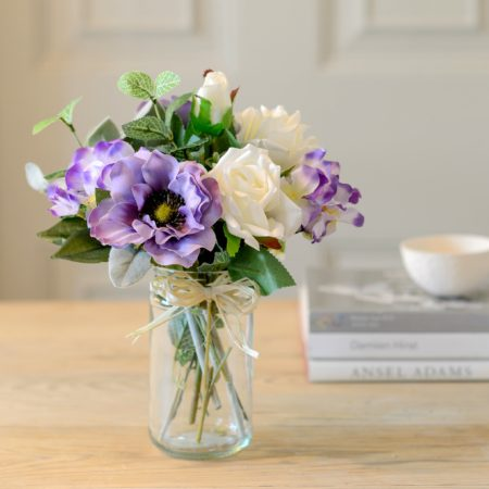 LILAC ANEMONE & WHITE ROSE FLOWER JAR