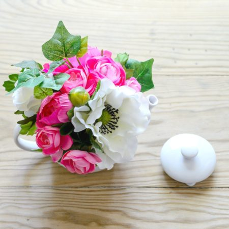 TEA FOR TWO TEAPOT SILK FLOWER POSY
