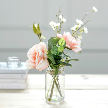 artificial spring blossom & peachy garden rose jam jar