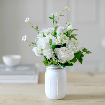 FAUX WHITE ROSE & DAISY FLOWER GARDEN WITH VINTAGE MASON VASE