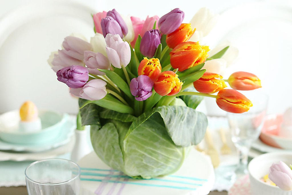 Tulip-Cabbage-Flower-Arrangment-for-Easter