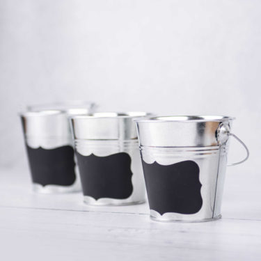 SET OF 3 LITTLE BUCKETS WITH BLACKBOARD STICKER