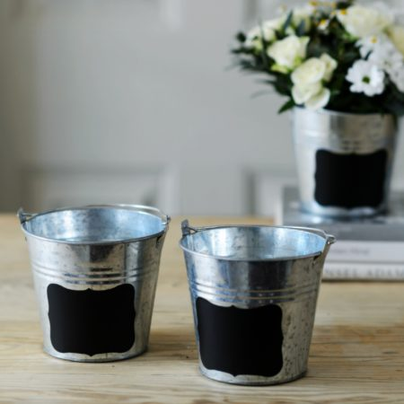 set of 3 blackboard silver buckets