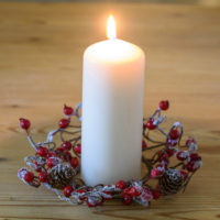 RED BERRY & PINECONE CANDLE RING
