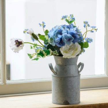 FAUX BLUE HYDRANGEA & FORGET ME NOT FLOWER CHURN