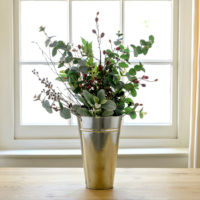 Florist Bucket Of Faux Winter Berries & Foliage