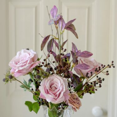 artificial blushing pink garden rose bouquet