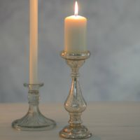 mercury glass silver candlestick