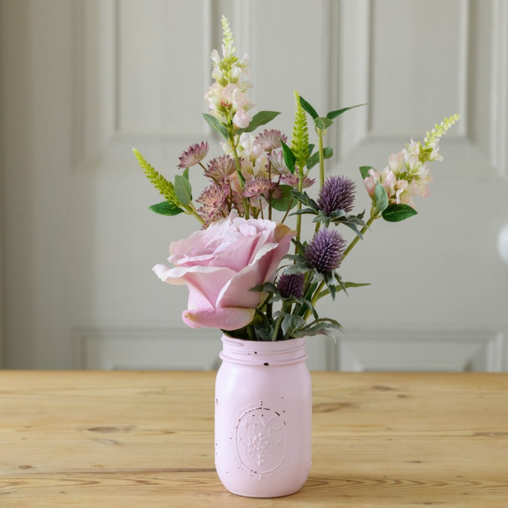 ARTIFICIAL LYDIA POSY IN PINK MASON JAR