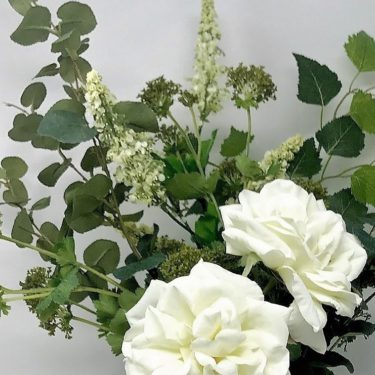 ARTIFICIAL WHITE ROSE GARDEN FLOWER BOUQUET (5)