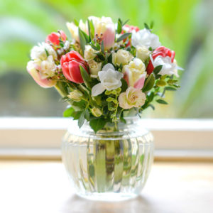 BELLAS-SPRING-FLOWER-GARDEN-OF-ROSES-FREESIA-TULIPS-WITH-VINTAGE-VASE-compressed