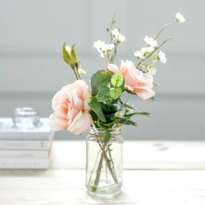 artificial-spring-blossom-peachy-garden-rose-jam-jar