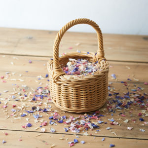 FLOWER GIRL POSY BASKET WITH CONFETTI