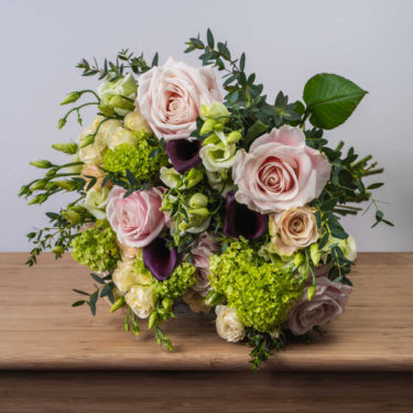 PEACH & PINK ROSE WITH CALLA LILY BOUQUET