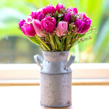 PRETTY IN PINK TULIPS IN FLOWER CHRUN VASE