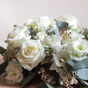 white rose garden posy