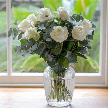 12 WHITE ROSES & SCENTED EUCALYPTUS