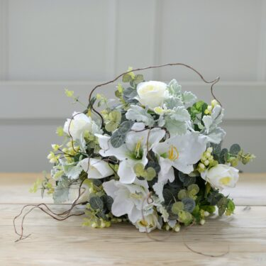 artificial luxury white lily & garden rose twig bouquet
