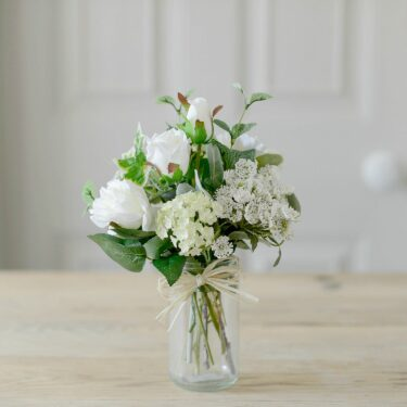 artificial white rose garden posy with glass jar