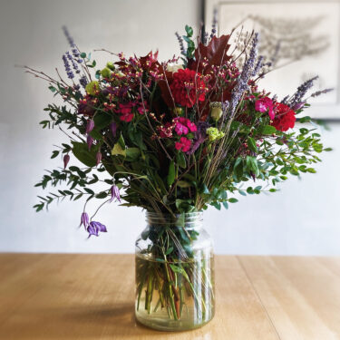 AUTUMN COUNTRY CHARM DAHLIA & DRIED LAVENDER BOUQUET