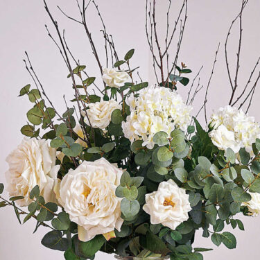 white garden rose & hydrangea luxury artifcial bouquet close up