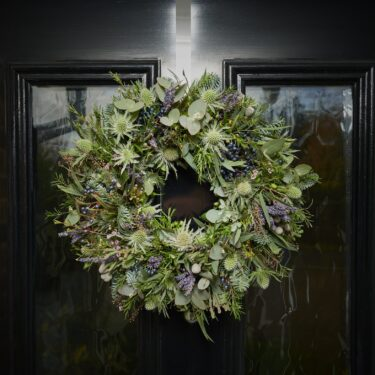 wild one christmas wreath - lavender and thistles and berries