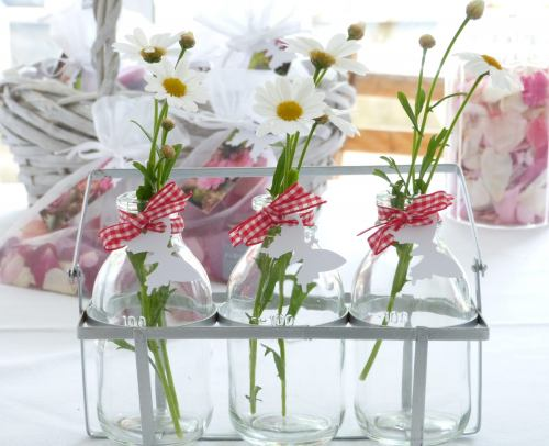 Glass Bottles ~ 3 Vintage Style Mini Vases in Crate