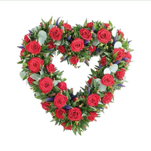 Heart Wreath ~ Red Rose Love Heart  Local Delivery Only
