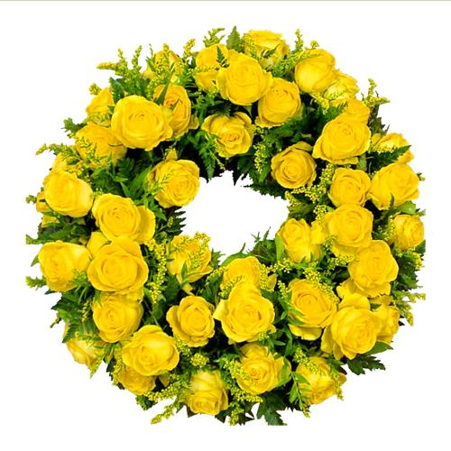 Wreath ~ Sunshine Rose Wreath Local Delivery Only