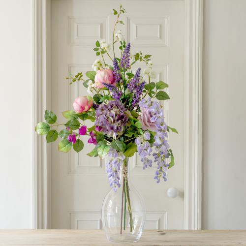 Artificial Luxury ~ Lilac Wisteria & Wild Rose Flower Bunch