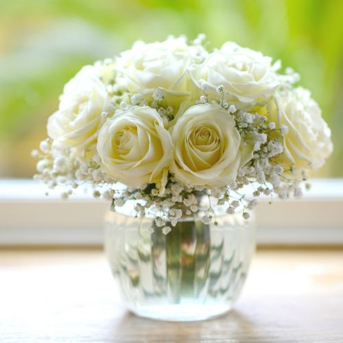 Love ~ White Roses Cloud Posy