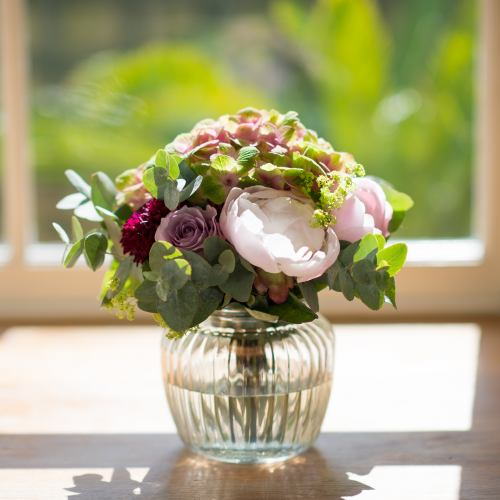 Summer ~ Cottage Garden Peony & Rose Posy