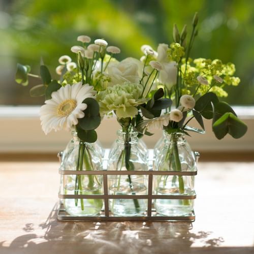 Flower Bottles ~ White Cottage Blooms