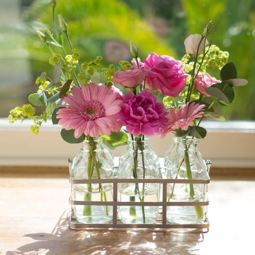 Flower Bottles ~ Tickled Pink Blooms