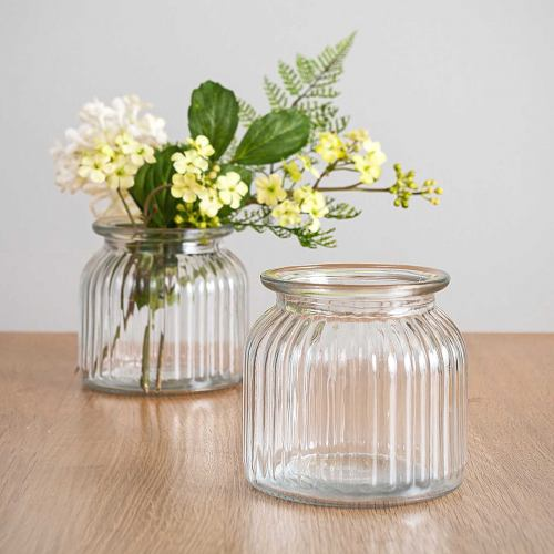 Vase ~ Mini Sweetie Glass Ribbed Wide Neck Vase 11cm