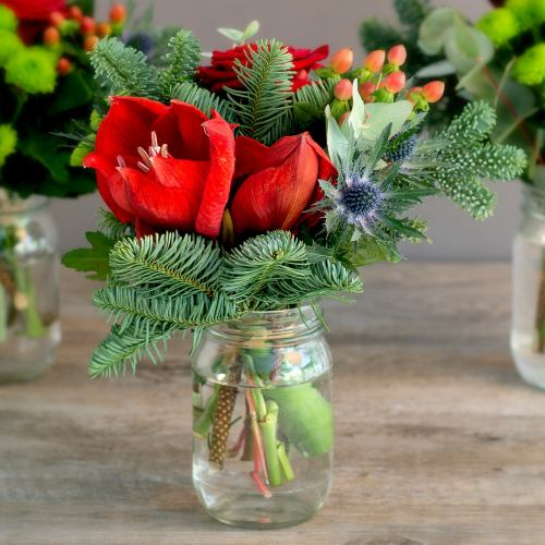 Festive ~ Trio Of Christmas Spruce Flower Jars Table Decor