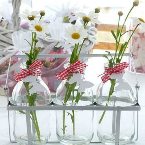Glass Bottles ~ 3 Mini Bud Vases in Crate