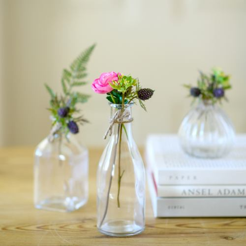 Glass Bottles ~ Retro Glass Flower Bud Vase Set Of 3