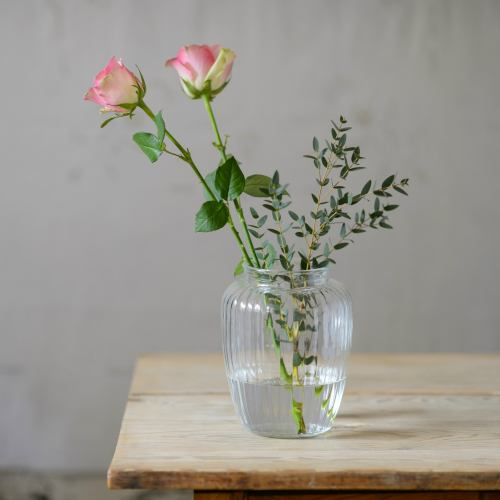 Glass ~ Tall Sweetie Ribbed Vase
