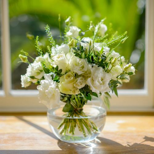 Sympathy ~ End Of The Row White Cottage Flower Posy