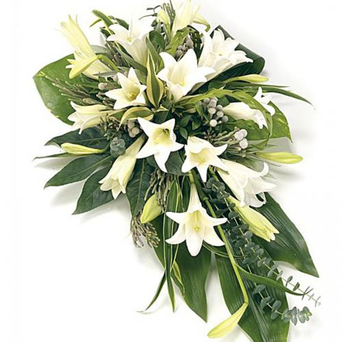 Spray & Sheaf ~ White Longi Lily Spray ~ National Delivery