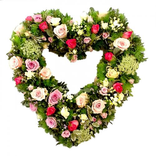 Heart Wreath ~ Always In My Heart Rose ~ Local Delivery Only