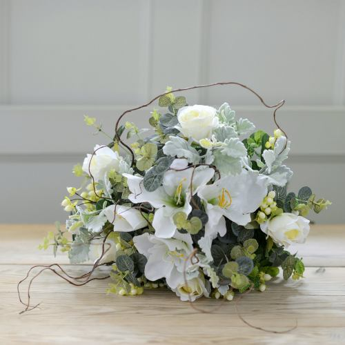 Luxury Artificial ~ Narnia Winter Snowberry & White Lily Bouquet