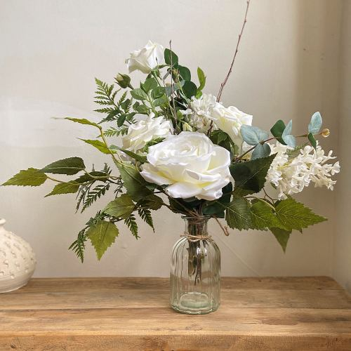 Posy Faux ~ Forest Fern & White Rose