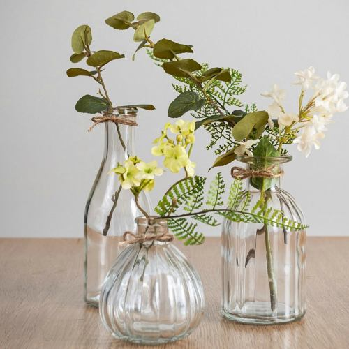 Glass Bottles ~ Ripple Flower Bud Vase Set Of 3